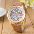 2016 Newest Flower Printed Watches Fashion Women Analog Quartz Wristwatch Newly Design Simple Lady Dress Leather Reloj Relogio