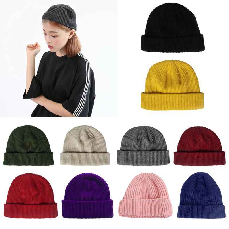 483074dc36e Women Unisex Winter Ribbed Knitted Short Melon Cap Cuffed Solid Color  Single Flanging Skullcap Baggy Retro