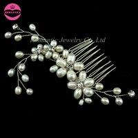 Accessoires de Cheveux de mariage Haute Qualité D'eau Douce Perle Cheveux Peignes De Mariée Barrettes Main Élégant Cheveux Peignes