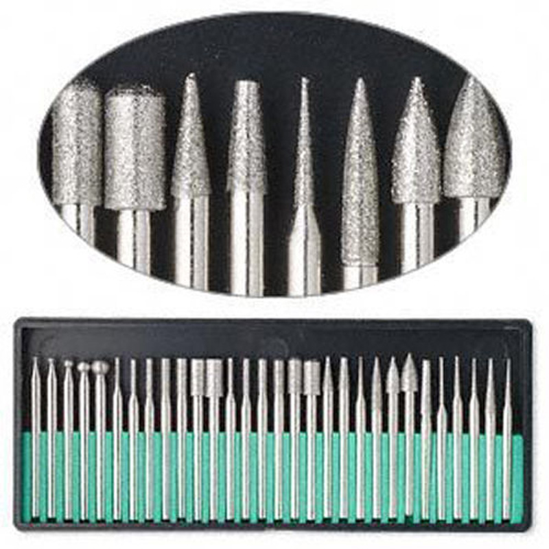 Free Shipping 30pcs DIAMOND BURS Bur Bit Set DREMEL 3.1mm Shank Rotary Tool Drill Bit For Grinding Jade, Stone, Marble Glass