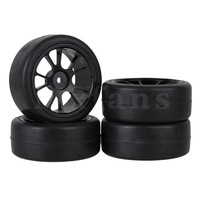 Mxfans 4 RC1:10 On-Road Car Rubber Smooth Tire and Aluminum 10 Spokes Wheel Rims Silver