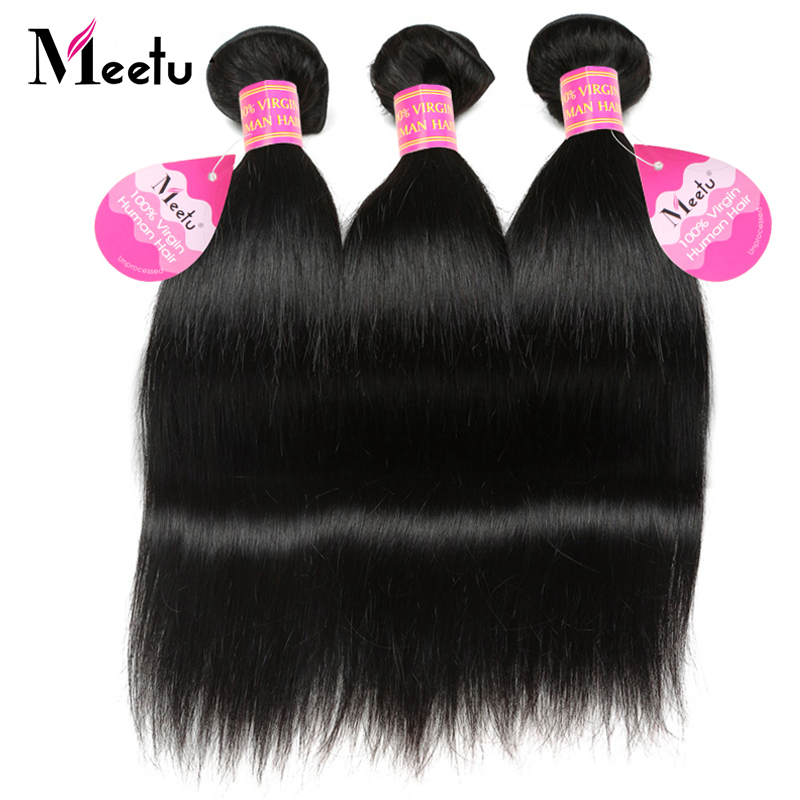 Meetu Brazilian Straight Hair Weave Bundle Non Remy Human Hair - Skønhed forsyning - Foto 1