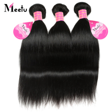 Meetu Brazilian Straight Hair Weave Bundle Non Remy Human Hair Extensions Natural Color 8-28 inch 3 Bundles Deal Gratis Levering