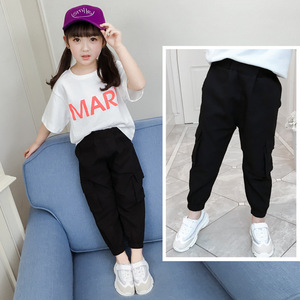 Image 4 - Casual Kids Girls Cargo Pants Pure Color Summer Cool Trousers Pocket Loose Pant for Teen Girl 4t 8 12y Children Clothing Spring