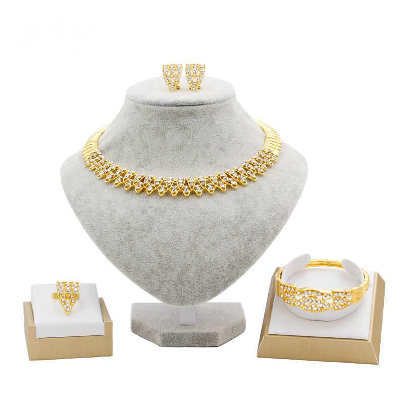 Dengan Liffly Fashion Bridal Perhiasan Set Crystal Kalung Gelang Cincin Pernikahan Mewah Anting-Anting Dubai Emas Perhiasan Set untuk Wanita