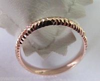 NEW Pure 18K Rose Gold Ring Faceted Band Size: 7.5