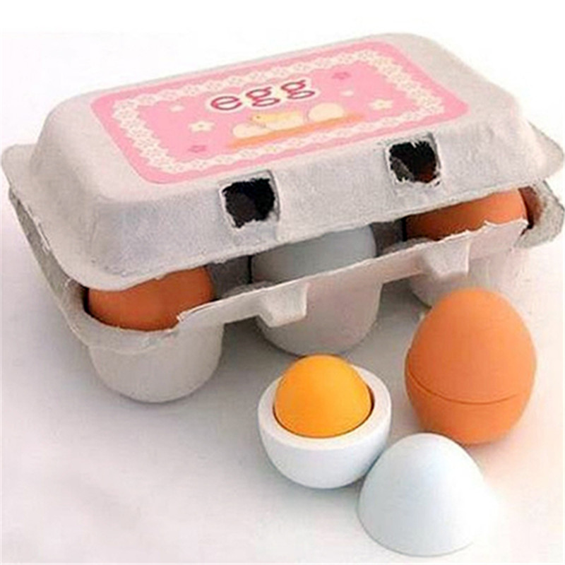 6Pcs/Lot Preschool Educational Pretend Cooking Play Odorless Wooden Egg Toys Set Kids Intelligence Developmental Toys