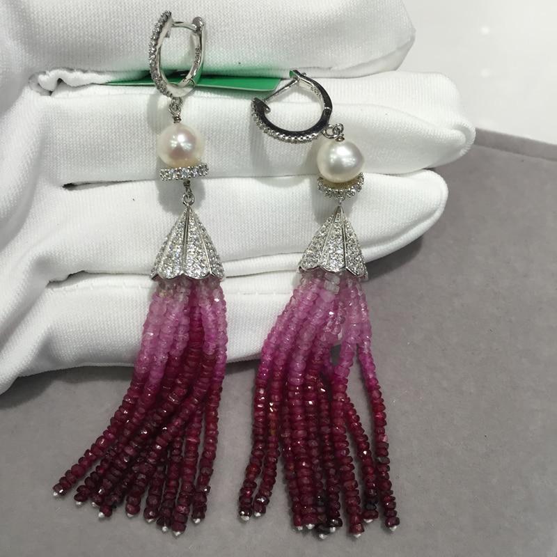 Pierre semi-précieuse naturelle rubis goutte boucle d'oreille glands 925 argent sterling avec perle fraîche bijoux fins à la mode
