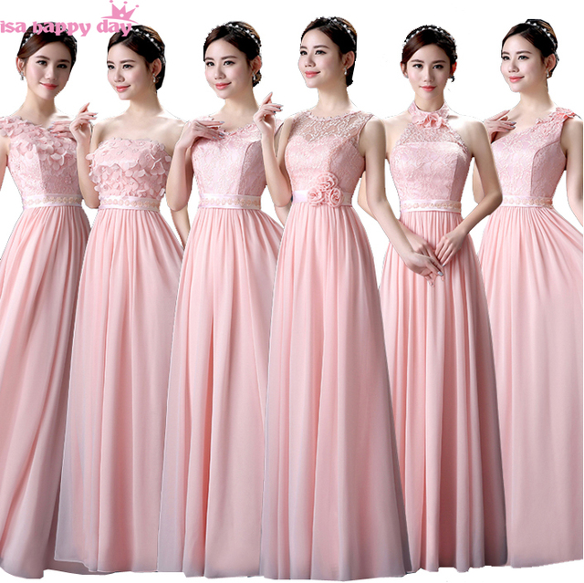 25b4e22e0 Pastel rosa de dama de honor modesto vestido de novia
