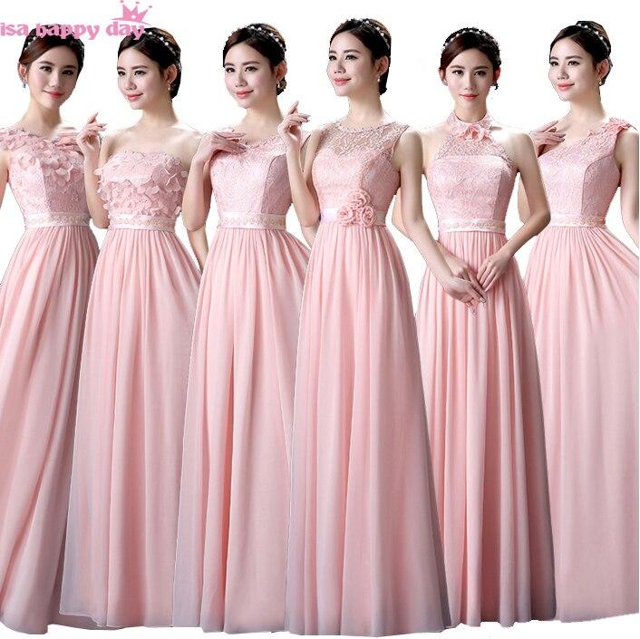 exclusieve schoenen gekke prijs officiële winkel Pastel roze bruidsmeisje bescheiden jurk bruid jurk ...
