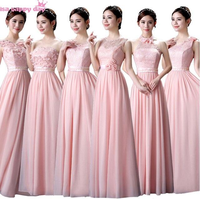 abbastanza Pastello rosa damigella d'onore modest abito da sposa damigelle d  HQ19