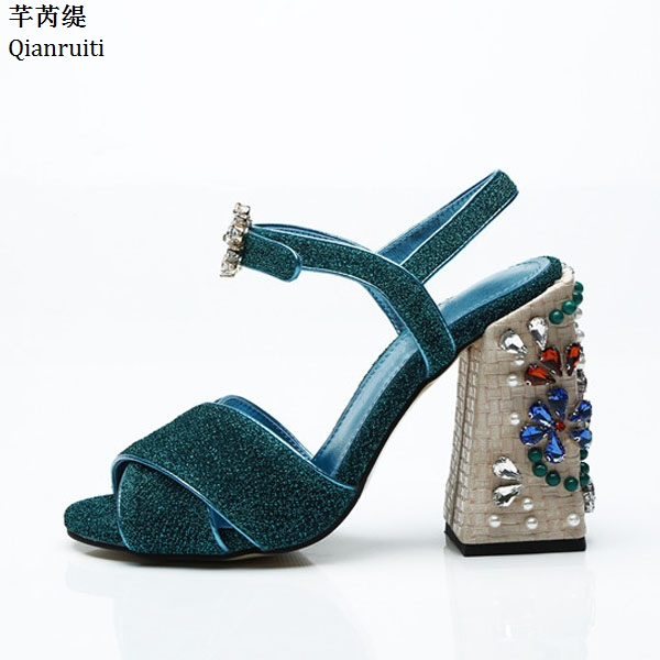 Qianruiti Rome Style Ankle Strap Slingback Women Pumps Open Toe Block Heels Women Sandals Studded Crystal High Heels Women Shoes