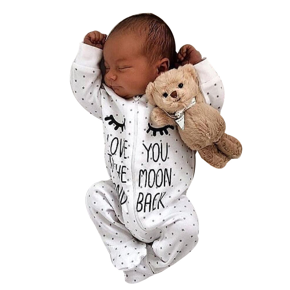 Newborn Infant Baby Boy Girl Letter Hooded   Romper   Jumpsuit Outfits Clothes new born baby girl clothes