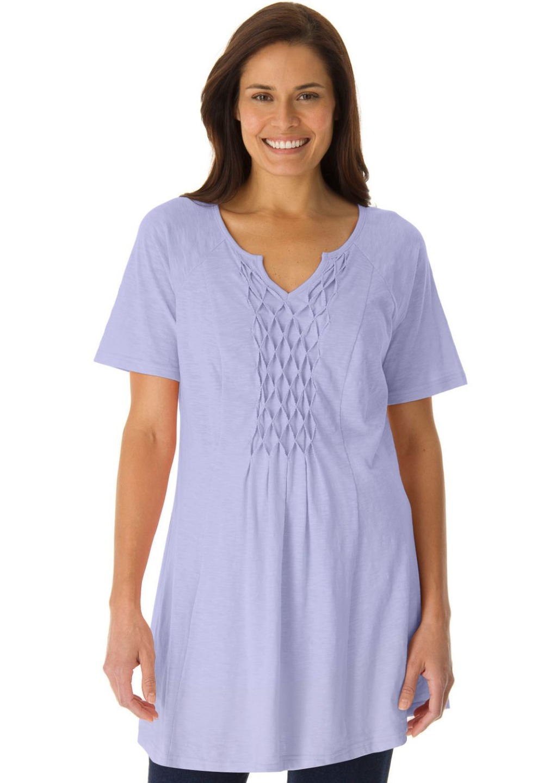 Xl 10xl large size diamond smocking knit long tunic top for Womens denim tunic shirt