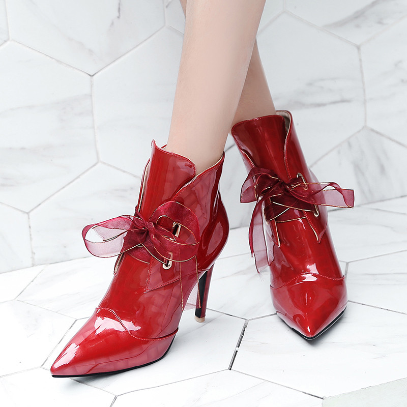 YMECHIC 2018 Fashion Patent Leather Ribbon Lace Up Bowtie Sexy High Heel Ladies Party Wedding Bride Shoes Plus Size Ankle Boots-in Ankle Boots from Shoes    1
