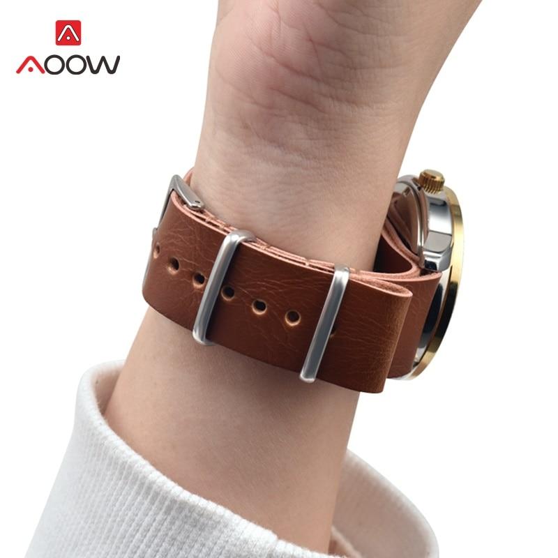 Top Quality PU Leather ZULU Watchband Strap NATO Leather Watch band 18mm 20mm 22mm 24mm Watch Accessories