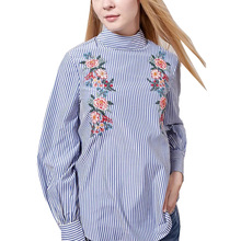 European Women Blue Floral Embroidery Striped Blouse Office Wear Turtleneck Long Sleeve Shirt Camisa Para Mujer Female Blusas
