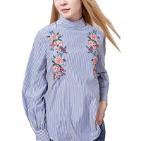 European Women Blue Floral Embroidery Striped Blouse Office Wear Turtleneck Long Sleeve Shirt Camisa Para Mujer