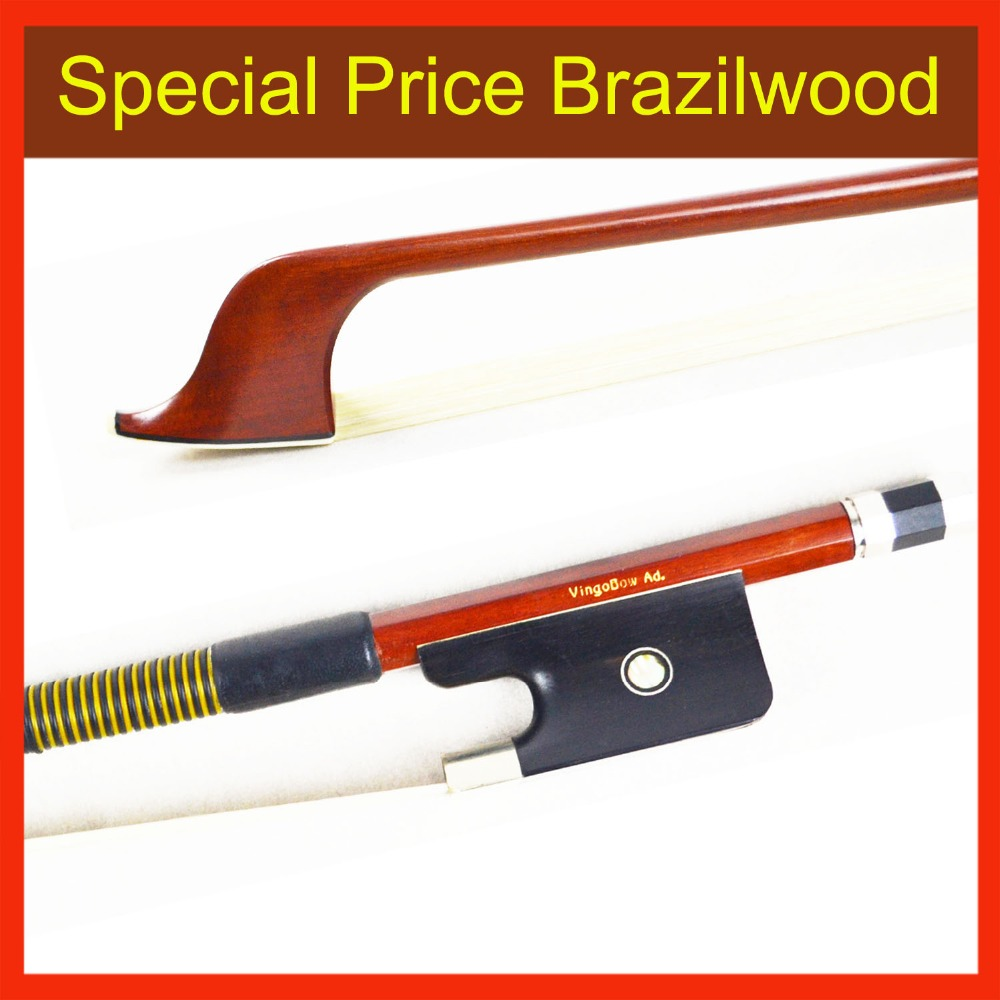 310BF 1/4 Size French BASS BOW Brazilwood Stick Ebony Frog Nickel Silver Fitted Natural White Horsehair Bass Parts Accessories 1 4 size 812vb pernambuco violin bow high density ebony frog with nickel silver good quality hair straight violin accessories