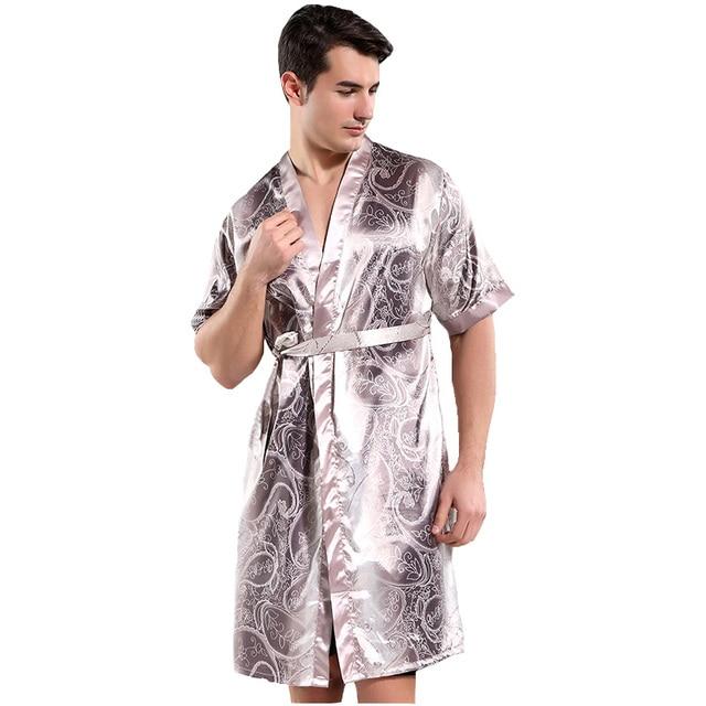 Summer New Gray Print Flower Men Rayon Satin Robe Casual Kimono Gown Yukata  Bathrobe Nightwear Home Wear Sleepwear Pajamas a97d8042e