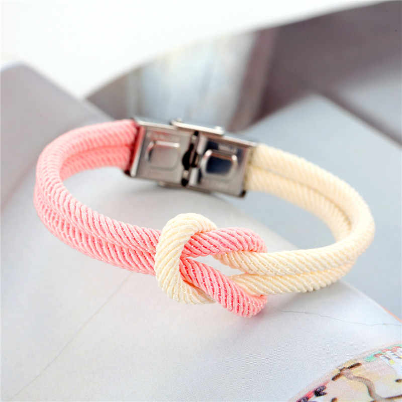 MKENDN Hot Sale High Quailty Men Women Macaron color Knot Leather Stainless Steel Buckle Navy Style Friendship Jewelry Pulseras