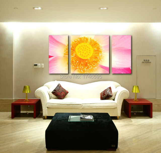 3pcs Big size modern living room home wall decor yellow whit pink ...