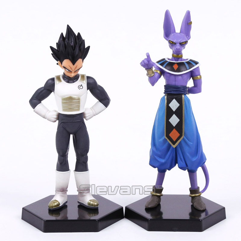 Dragon Ball Z Vegeta and Beerus PVC Figures Collectible Model Toys 2pcs/set goki wooden traditional toys clock bears mini bead frames floating ball press and shake figures top with pull out string