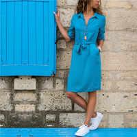 Женское платье-рубашка с отложным воротником, повседневное весеннее платье большого размера с рукавом три четверти