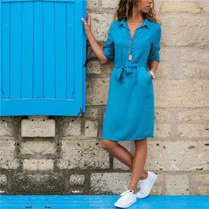 Fashion Turn-down Collar Party Shirt Dress Women Solid Three Quarter Sleeve Spring Summer Dress Plus Size Casual Vestidos Robe(China)