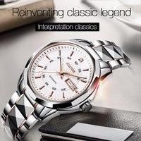 Вольфрам стали автоматические часы Для мужчин JSDUN Для мужчин механические часы лучший бренд класса люкс Водонепроницаемый erkek коль saati Relogio