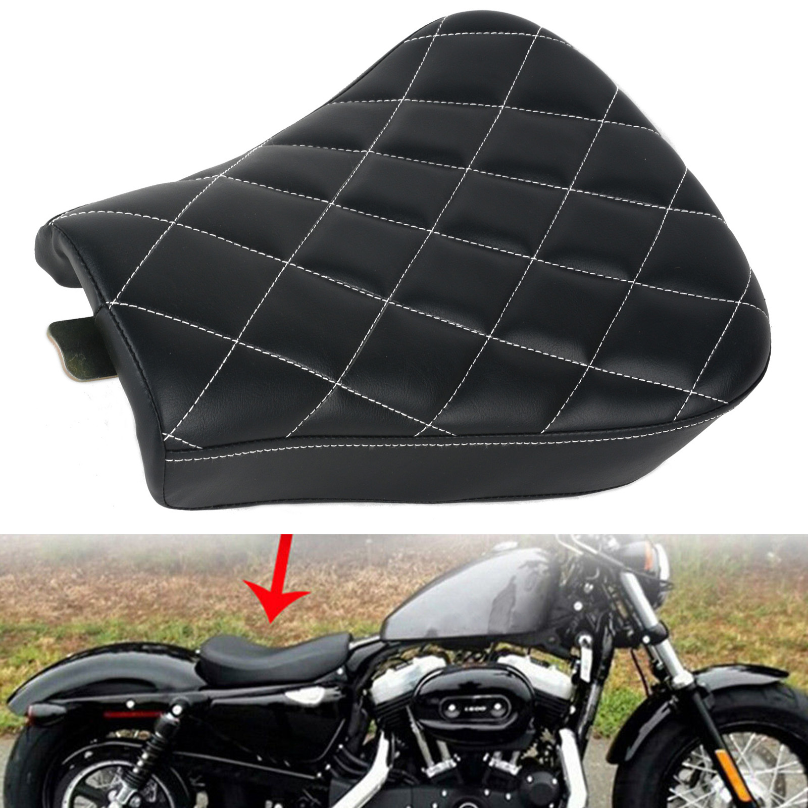 New Motorcycle Black Synthetic Leather Grid Shape Front Driver Solo Seat Cushion For Harley Sportster Forty Eight XL1200 883 48