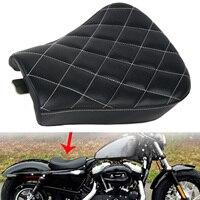 Nuova Moto Nera In Pelle Sintetica Forma di Griglia Anteriore Conducente Sedile singolo Cuscino Per Harley Sportster Forty Eight XL1200 883 48