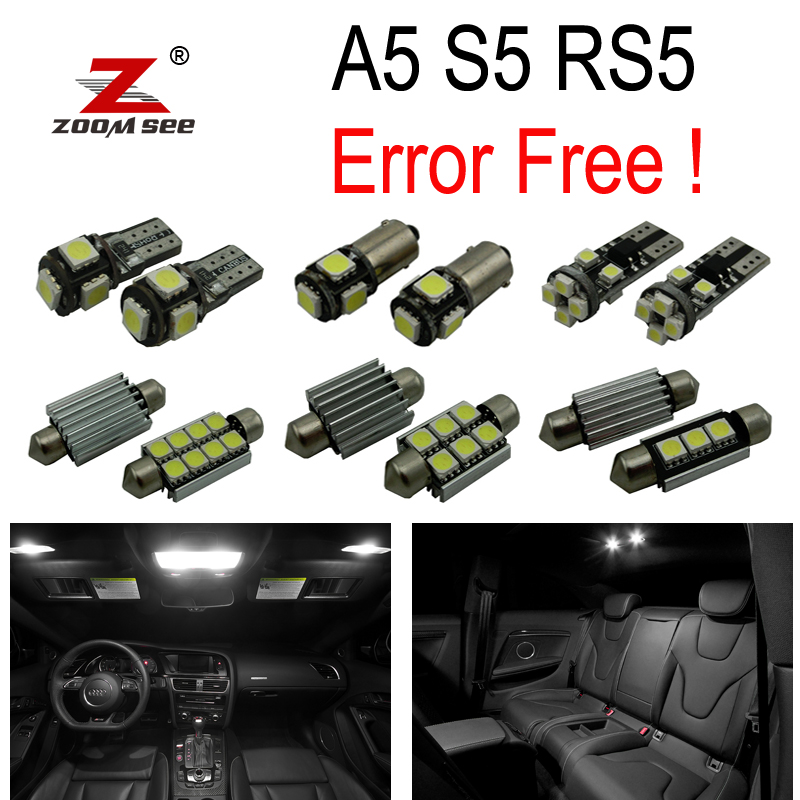 16pc X 100% Canbus LED License plate bulb + Interior dome map Light Kit Package for Audi A5 S5 RS5 B8 (2008-2015)