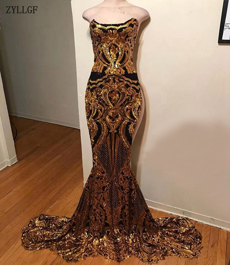 ZYLLGF Long Sparkly Prom Dresses 2019 Sexy Mermaid Sleeveless African Black  Girl Gold Sequin Party Women be29a30a468f