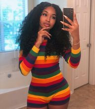 Vadim Time-limited Bodysuit Women Sale Body Women's Free Shipping 2019 Personality Sexy Seven-color Rainbow Stripe Jumpsuit(China)