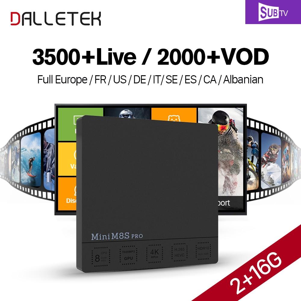 Full HD French IPTV Box Dalletektv Mini M8S PRO Android 7.1 Smart TV Box 3500+ SUBTV IPTV Europe French Turkish Arabic IPTV Box iptv evpad pro