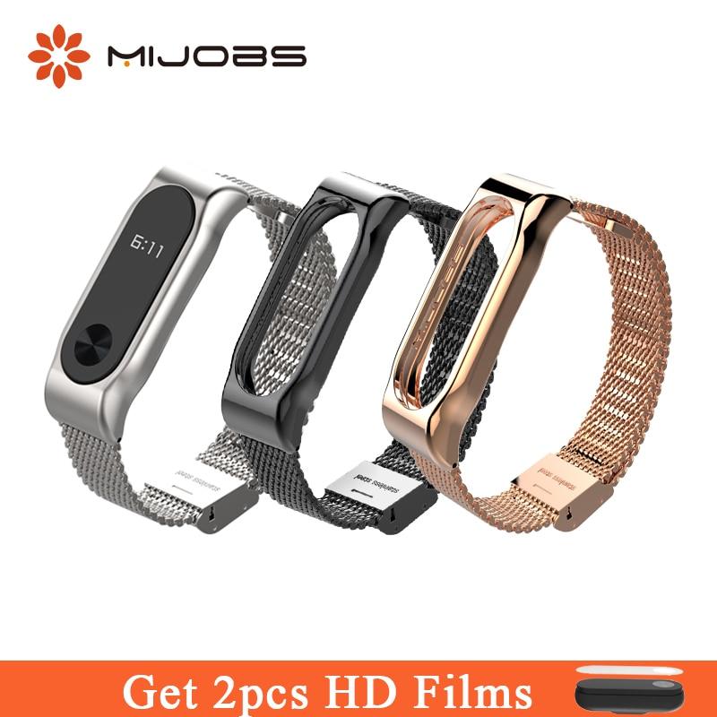 Mijobs Metal Strap For Xiaomi Mi Band 2 Smart Watch Milanese Wrist Screwless Stainless Steel Bracelet Miband 2 Strap Wristbands