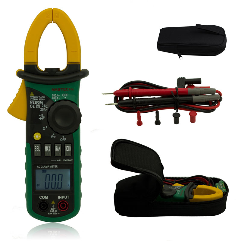 MASTECH MS2008A Digital Clamp Meters Ammeter Voltmeter Ohmmeter LCD Backlight Current Voltage Tester