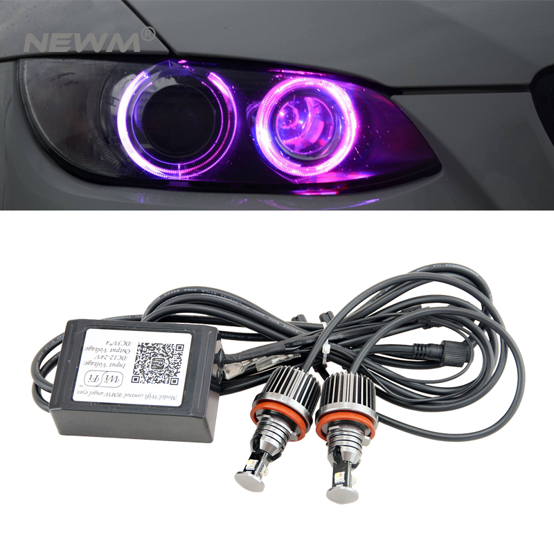 2018 Upgrade Colors Changing H8 led marker angel eyes wifi control error free for BMW X5 E70 X6 E71 E90 E91 E92 M3 E89 E82 E87