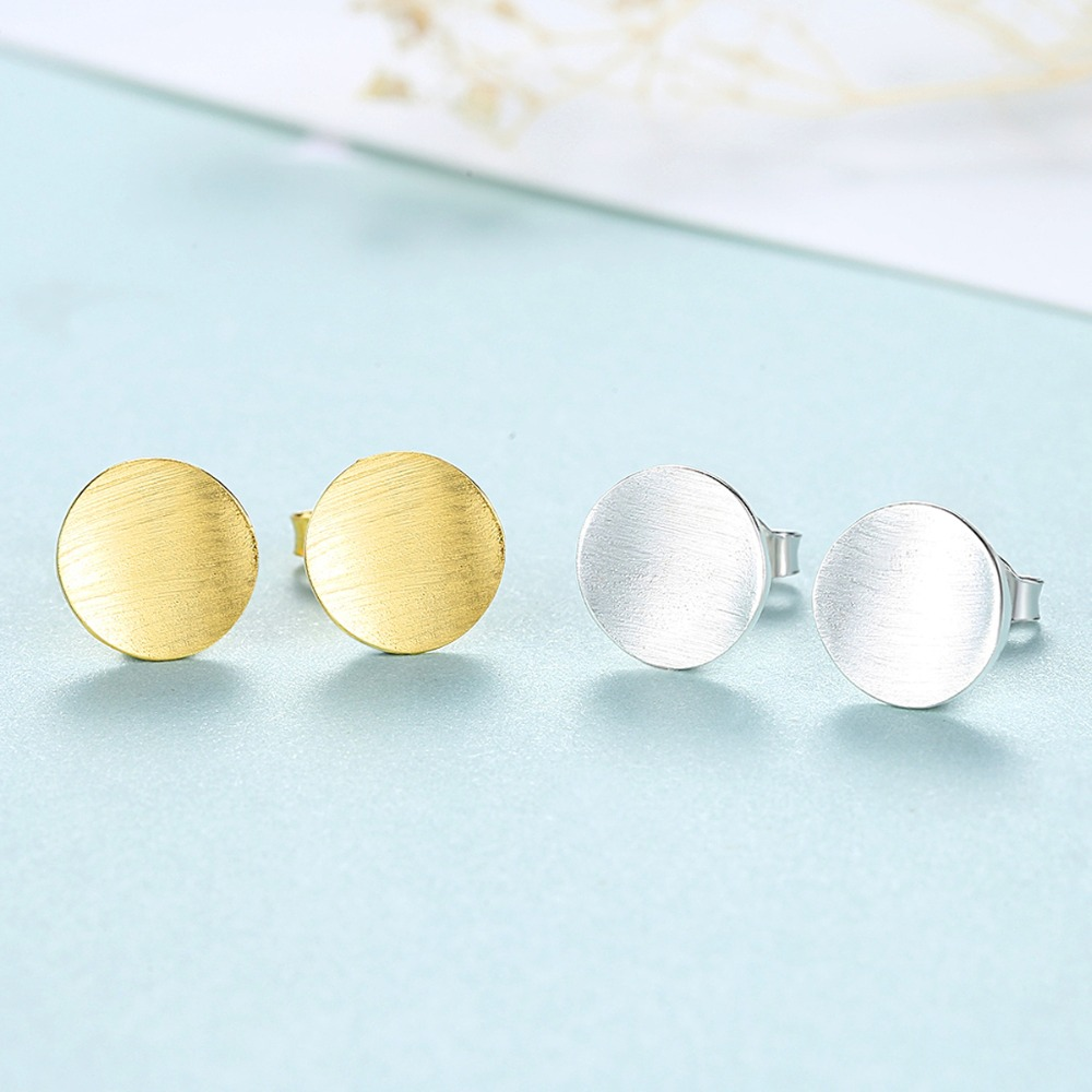 Pure 925 Sterling Silver Plain Silver earrings Push-back 9mm Ball Stud Earrings