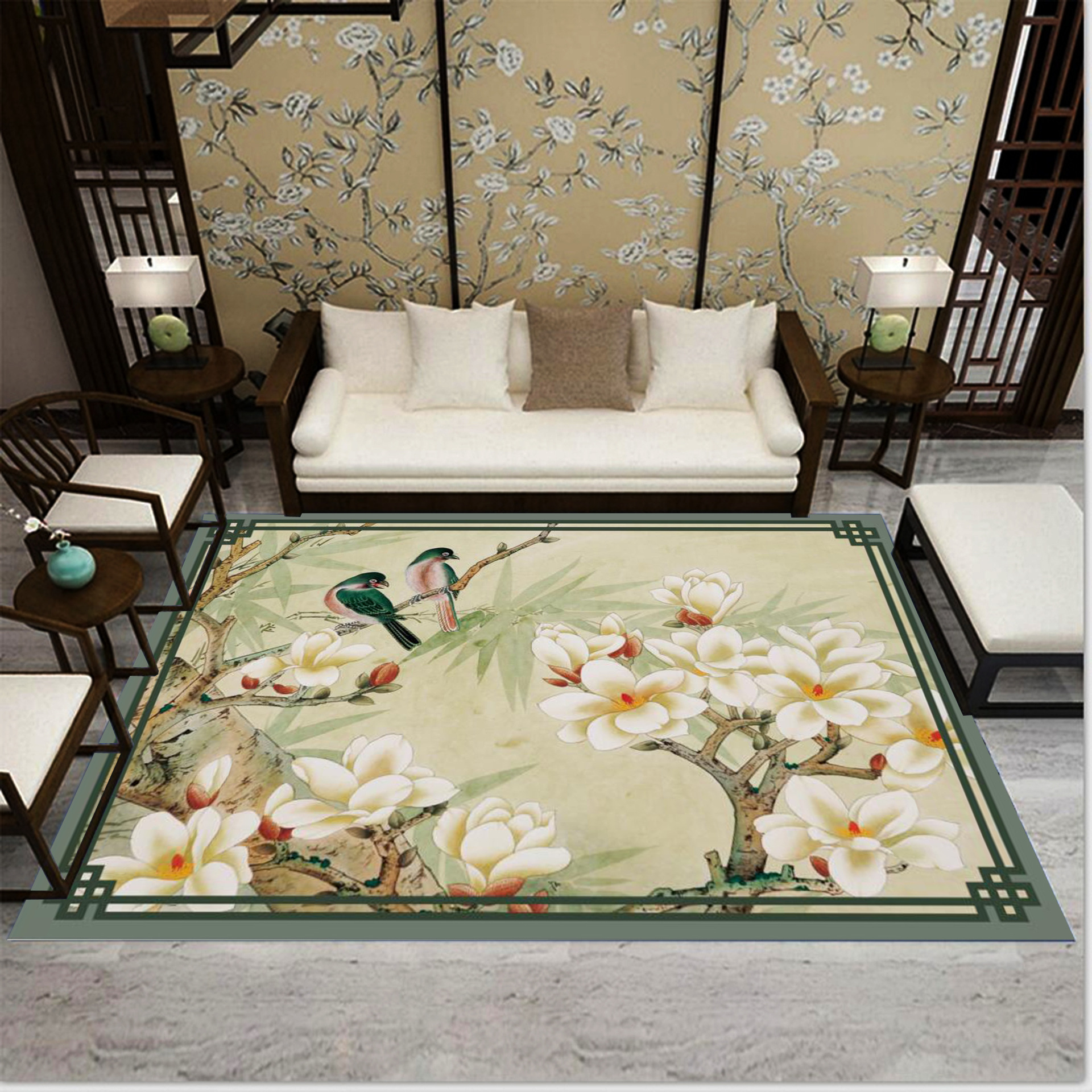 Chinese Style Flower Birds Carpet For Living Room Mat Rug 3D Large Carpets Study/Bedroom Bedside/Hallway Home Decor Runner Rug
