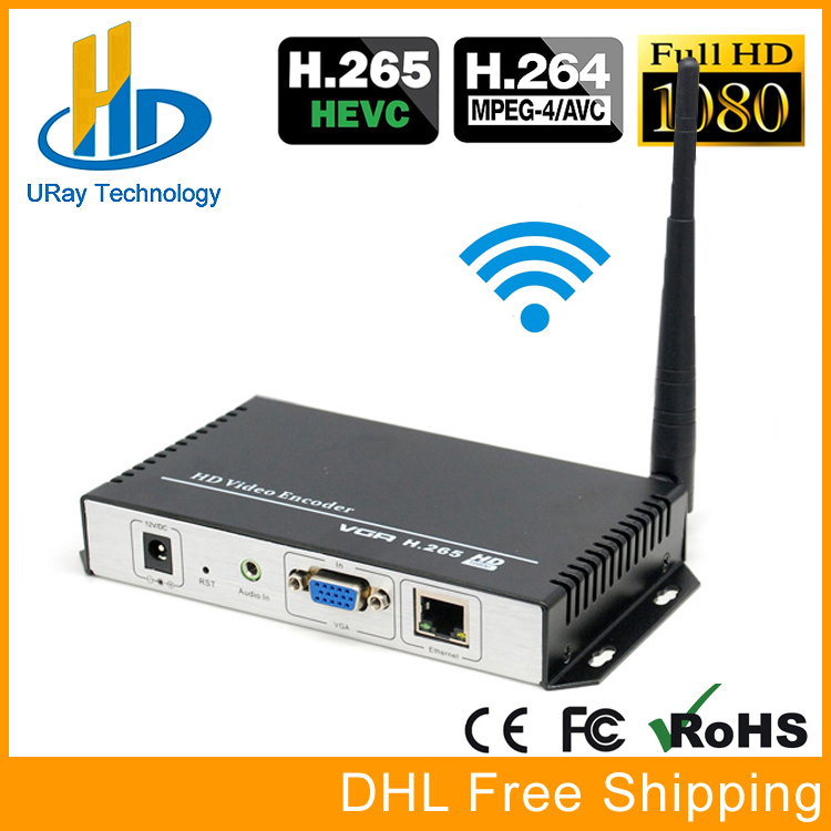 URay HEVC H.265 H.264 Wireless VGA Encoder HD Live Streaming VGA Encoder H265 H264 RTSP RTMP UDP IP Stream VGA Server With WIFI uray 3g 4g lte hd 3g sdi to ip streaming encoder h 265 h 264 rtmp rtsp udp hls 1080p encoder h265 h264 support fdd tdd for live
