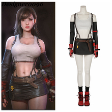 Game Cosplay Costume Final Fantasy VII Remake PS4 Hot Character Tifa Lockhart cosplay Halloween Party Womens Clothes suit
