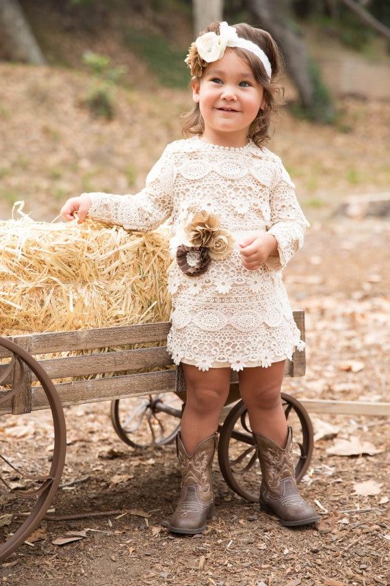 Crochet Long Sleeve Lace Dress Flower Girl Dressrustic