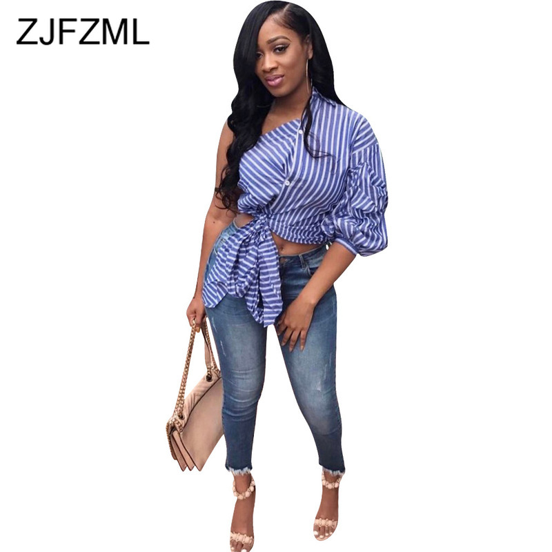 Blue White Striped Summer T Shirts For Women One Shoulder Backless Plus Size T-Shirts Casual Three Quarter Puff Sleeve Crop Top