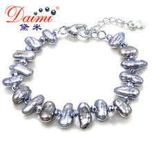 DAIMI Teeth Pearl & Crystal Bracelet Gray/ Green/ Brown Pearl Bracelet Adjust Clasp Wholesale Price(China)