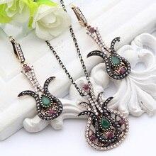 f0388ab6eafa Nuevos conjuntos de joyas turcas Vintage Chapado en oro antiguo tulipán  flor collar y pendientes mujeres boda fiesta Festival re.