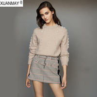 Autumn pearl decorative Pullover Sweater coat brand design casual knit Top 2019 handmade beaded decorative Autumn Sweater woman