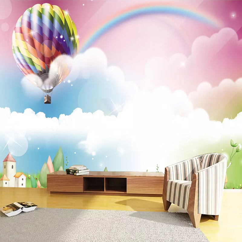 Papel De Parede 3D Cartoon Balloon Rainbow Cute Murals Wallpaper Children Kid's Bedroom Home Decor Background Wall Painting 3 D