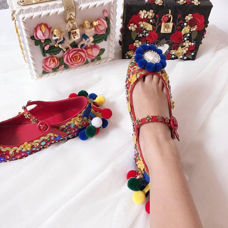2018 г. Модные женские роскошные кожаные туфли с разноцветными шариками, украшенные кристаллами, с цветами без каблука, с пряжкой и ремешком С... - 6